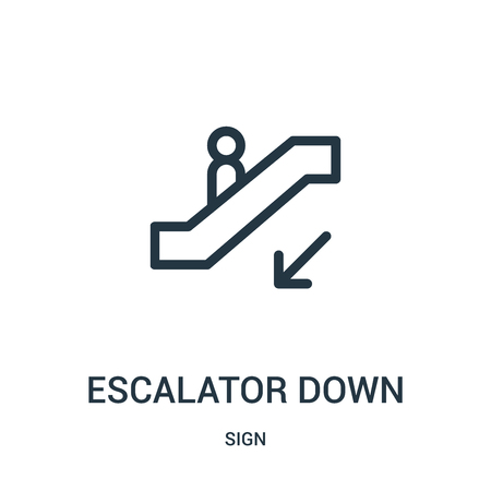 escalator down icon vector from sign collection. Thin line escalator down outline icon vector illustration. Linear symbol for use on web and mobile apps, logo, print media. Stok Fotoğraf - 124036392