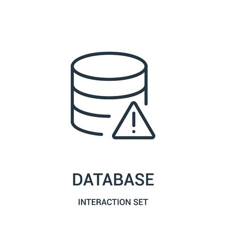 database icon vector from interaction set collection. Thin line database outline icon vector illustration. Linear symbol for use on web and mobile apps, logo, print media.