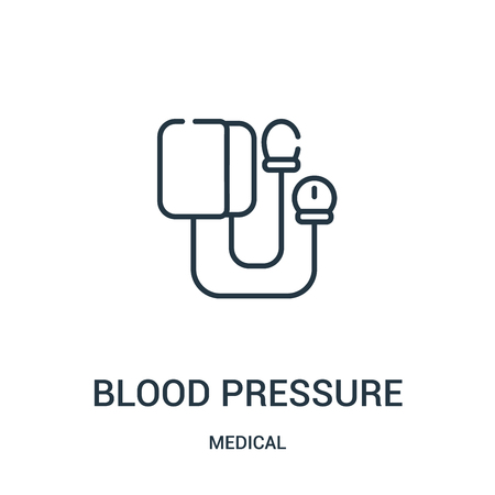 blood pressure icon vector from medical collection. Thin line blood pressure outline icon vector illustration. Linear symbol for use on web and mobile apps, logo, print media. Illustration