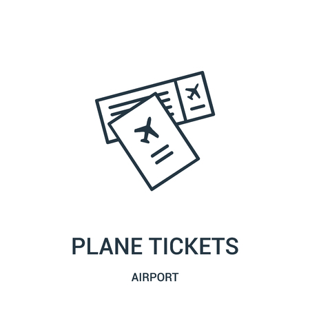 plane tickets icon vector from airport collection. Thin line plane tickets outline icon vector illustration. Linear symbol for use on web and mobile apps, logo, print media.