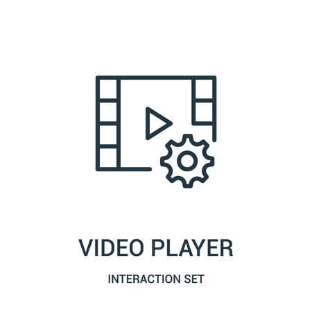 video player icon vector from interaction set collection. Thin line video player outline icon vector illustration. Linear symbol for use on web and mobile apps, logo, print media.