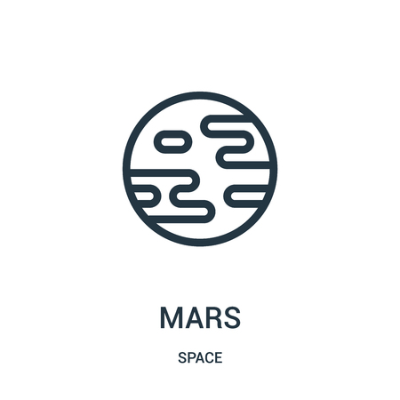 mars icon vector from space collection. Thin line mars outline icon vector illustration. Linear symbol for use on web and mobile apps, logo, print media. Illustration