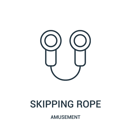 skipping rope icon vector from amusement collection. Thin line skipping rope outline icon vector illustration. Linear symbol for use on web and mobile apps, logo, print media.