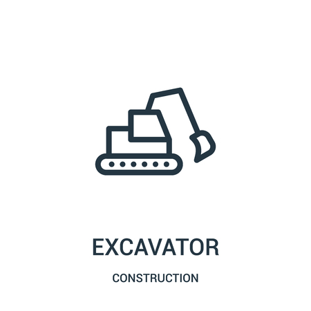 excavator icon vector from construction collection. Thin line excavator outline icon vector illustration. Linear symbol for use on web and mobile apps, logo, print media. Logo