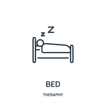 bed icon vector from theraphy collection. Thin line bed outline icon vector illustration. Linear symbol for use on web and mobile apps, logo, print media.