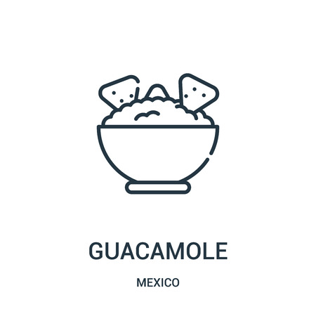 guacamole icon vector from mexico collection. Thin line guacamole outline icon vector illustration. Linear symbol for use on web and mobile apps, logo, print media.