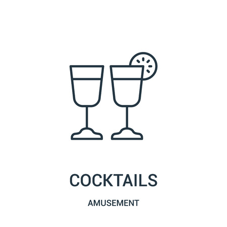 cocktails icon vector from amusement collection. Thin line cocktails outline icon vector illustration. Linear symbol for use on web and mobile apps, logo, print media.