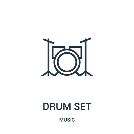 drum set icon vector from music collection. Thin line drum set outline icon vector illustration. Linear symbol for use on web and mobile apps, logo, print media.  イラスト・ベクター素材