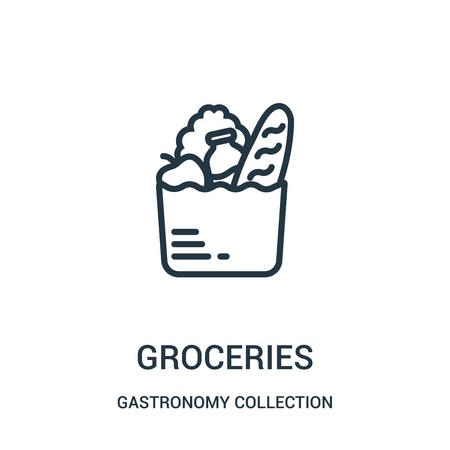 groceries icon vector from gastronomy collection collection. Thin line groceries outline icon vector illustration. Linear symbol for use on web and mobile apps, logo, print media.