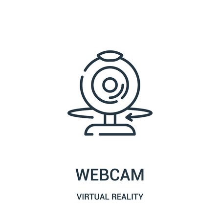 webcam icon vector from virtual reality collection. Thin line webcam outline icon vector illustration. Linear symbol for use on web and mobile apps, logo, print media.
