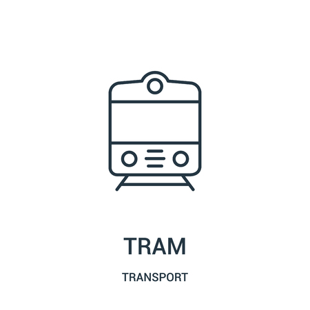 tram icon vector from transport collection. Thin line tram outline icon vector illustration. Linear symbol for use on web and mobile apps, logo, print media.