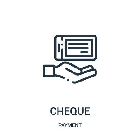 cheque icon vector from payment collection. Thin line cheque outline icon vector illustration. Linear symbol for use on web and mobile apps, logo, print media. Illustration