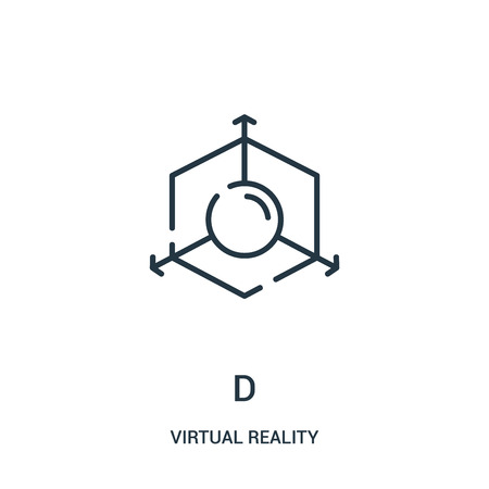 d icon vector from virtual reality collection. Thin line d outline icon vector illustration. Linear symbol for use on web and mobile apps, logo, print media.