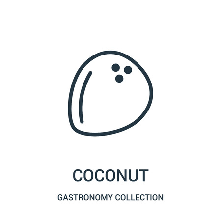 coconut icon vector from gastronomy collection collection. Thin line coconut outline icon vector illustration. Linear symbol for use on web and mobile apps, logo, print media.