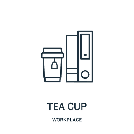 tea cup icon vector from workplace collection. Thin line tea cup outline icon vector illustration. Linear symbol for use on web and mobile apps, logo, print media.