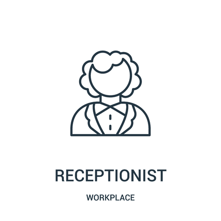 receptionist icon vector from workplace collection. Thin line receptionist outline icon vector illustration. Linear symbol for use on web and mobile apps, logo, print media.