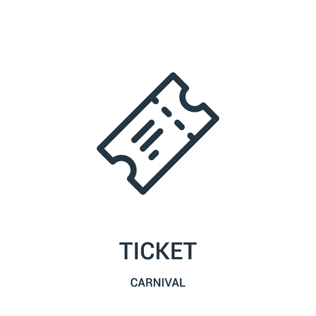 ticket icon vector from carnival collection. Thin line ticket outline icon vector illustration. Linear symbol for use on web and mobile apps, logo, print media.