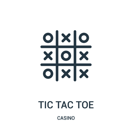 tic tac toe icon vector from casino collection. Thin line tic tac toe outline icon vector illustration. Linear symbol for use on web and mobile apps, logo, print media.
