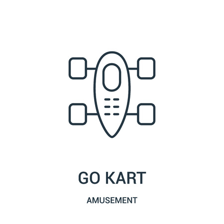 go kart icon vector from amusement collection. Thin line go kart outline icon vector illustration. Linear symbol for use on web and mobile apps, logo, print media. Çizim