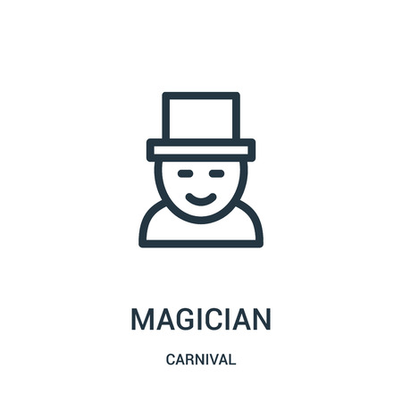 magician icon vector from carnival collection. Thin line magician outline icon vector illustration. Linear symbol for use on web and mobile apps, logo, print media.