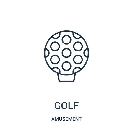 golf icon vector from amusement collection. Thin line golf outline icon vector illustration. Linear symbol for use on web and mobile apps, logo, print media. Çizim