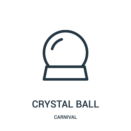 crystal ball icon vector from carnival collection. Thin line crystal ball outline icon vector illustration. Linear symbol for use on web and mobile apps, logo, print media.