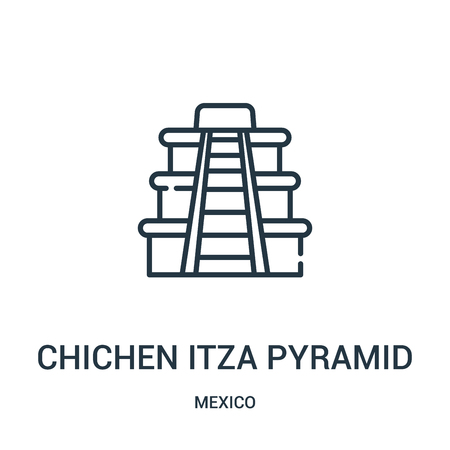 chichen itza pyramid icon vector from mexico collection. Thin line chichen itza pyramid outline icon vector illustration. Linear symbol for use on web and mobile apps, logo, print media. Ilustração