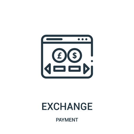 exchange icon vector from payment collection. Thin line exchange outline icon vector illustration. Linear symbol for use on web and mobile apps, logo, print media.