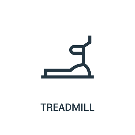 treadmill icon vector from gym collection. Thin line treadmill outline icon vector illustration. Linear symbol for use on web and mobile apps, logo, print media. Stock Illustratie