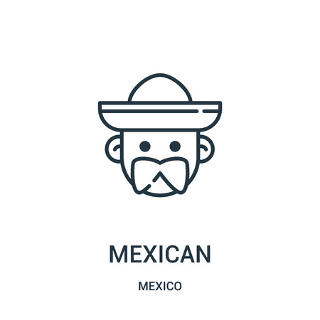 mexican icon vector from mexico collection. Thin line mexican outline icon vector illustration. Linear symbol for use on web and mobile apps, logo, print media.