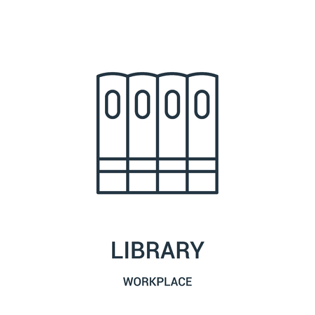 library icon vector from workplace collection. Thin line library outline icon vector illustration. Linear symbol for use on web and mobile apps, logo, print media.