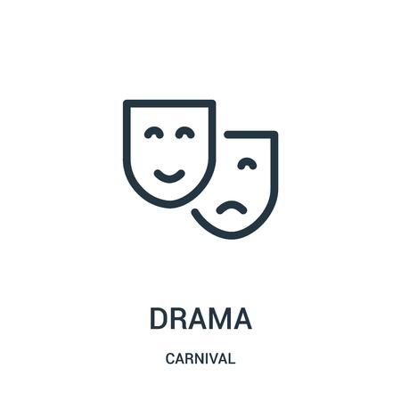 vector icono de drama de la colección de carnaval. Ilustración de vector de icono de contorno de drama de línea delgada. Símbolo lineal para usar en aplicaciones web y móviles, logotipo, medios impresos. Logos