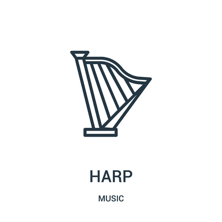 harp icon vector from music collection. Thin line harp outline icon vector illustration. Linear symbol for use on web and mobile apps, logo, print media.