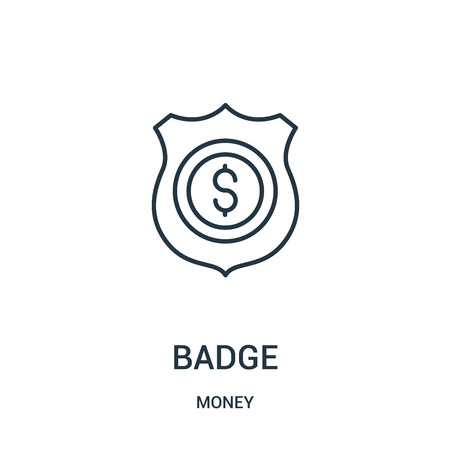 badge icon vector from money collection. Thin line badge outline icon vector illustration. Linear symbol for use on web and mobile apps, logo, print media.