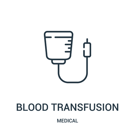 blood transfusion icon vector from medical collection. Thin line blood transfusion outline icon vector illustration. Linear symbol for use on web and mobile apps, logo, print media. Illustration
