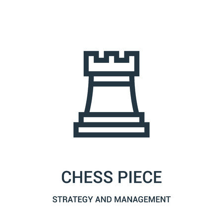chess piece icon vector from strategy and management collection. Thin line chess piece outline icon vector illustration. Linear symbol for use on web and mobile apps, logo, print media. Stock Illustratie