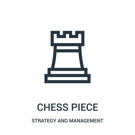 vecteur d'icône de pièce d'échecs de la collection de stratégie et de gestion. Pièce d'échecs fine ligne contour icône illustration vectorielle. Symbole linéaire à utiliser sur les applications Web et mobiles, le logo, les supports imprimés.