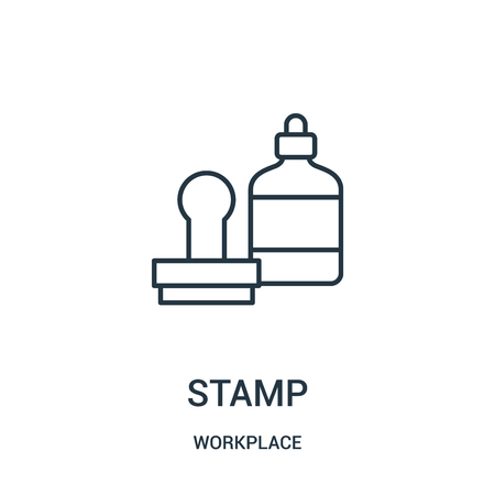 stamp icon vector from workplace collection. Thin line stamp outline icon vector illustration. Linear symbol for use on web and mobile apps, logo, print media.
