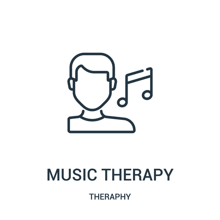 music therapy icon vector from theraphy collection. Thin line music therapy outline icon vector illustration. Linear symbol for use on web and mobile apps, logo, print media.