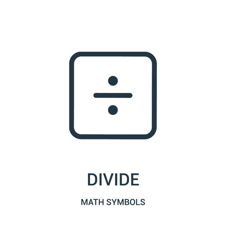 divide icon vector from math symbols collection. Thin line divide outline icon vector illustration. Linear symbol for use on web and mobile apps, logo, print media.