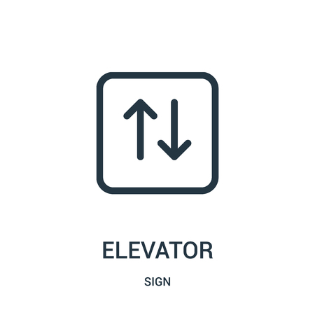 elevator icon vector from sign collection. Thin line elevator outline icon vector illustration. Linear symbol for use on web and mobile apps, logo, print media.  イラスト・ベクター素材