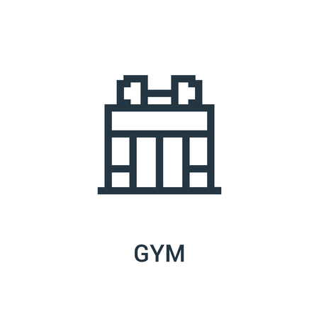 gym icon vector from gym collection. Thin line gym outline icon vector illustration. Linear symbol for use on web and mobile apps, logo, print media.