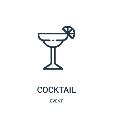 cocktail icon vector from event collection. Thin line cocktail outline icon vector illustration. Linear symbol for use on web and mobile apps, logo, print media.