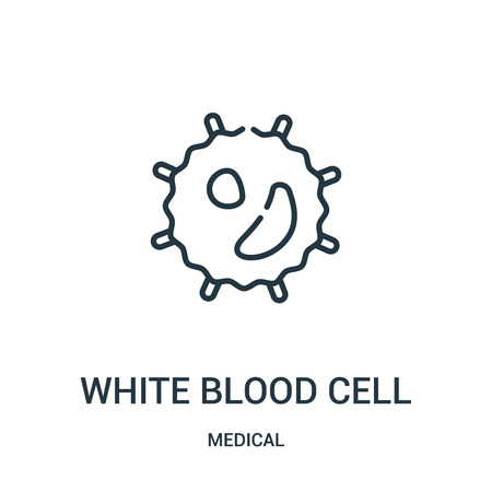 white blood cell icon vector from medical collection. Thin line white blood cell outline icon vector illustration. Linear symbol for use on web and mobile apps, logo, print media.