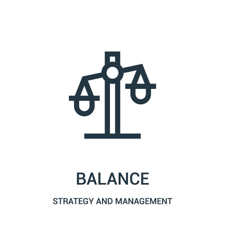 balance icon vector from strategy and management collection. Thin line balance outline icon vector illustration. Linear symbol for use on web and mobile apps, logo, print media.