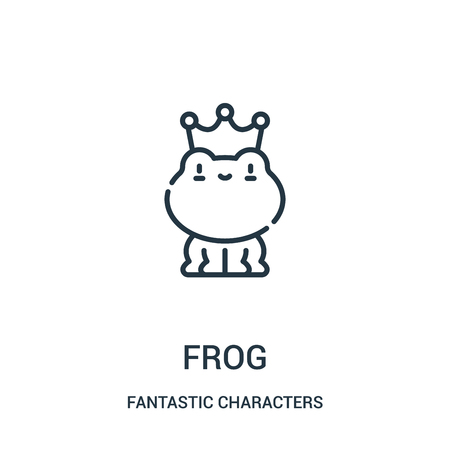 frog icon vector from fantastic characters collection. Thin line frog outline icon vector illustration. Linear symbol for use on web and mobile apps, logo, print media.  イラスト・ベクター素材