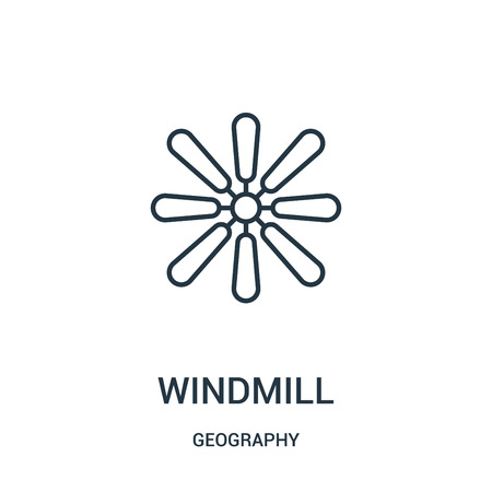 windmill icon vector from geography collection. Thin line windmill outline icon vector illustration. Linear symbol for use on web and mobile apps, logo, print media.  イラスト・ベクター素材