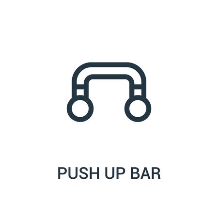 empuje hacia arriba el vector de icono de barra de la colección de gimnasio. Ilustración de vector de icono de contorno de barra de empuje de línea delgada. Símbolo lineal para usar en aplicaciones web y móviles, logotipo, medios impresos.