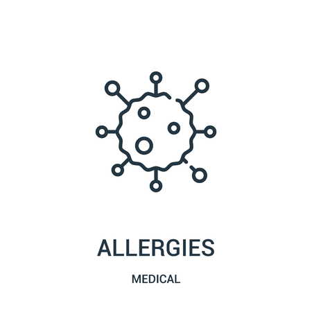 allergies icon vector from medical collection. Thin line allergies outline icon vector illustration. Linear symbol for use on web and mobile apps, logo, print media.