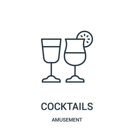 cocktails icon vector from amusement collection. Thin line cocktails outline icon vector illustration. Linear symbol for use on web and mobile apps, logo, print media. Stock Vector - 123473763